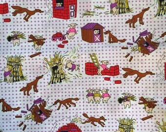 Vintage Children's 3 Little Pigs Fabric - 1 Yard