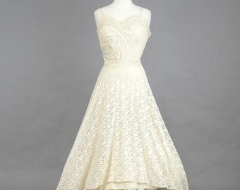 1940s Lace Wedding Dress, Tea Length Wedding Dress, Medium Vintage 40s Dress, Marshall Field Bride's Room