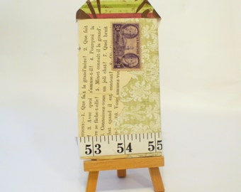 Tiny Home Collage, Vintage Style Altered Book Cover