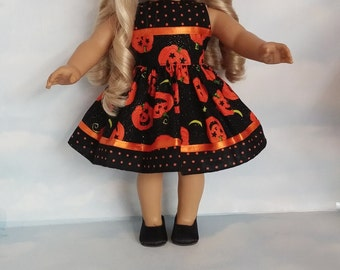 18 inch doll clothes - #312 - Halloween Pumpkin Dress made to fit the American Girl Doll
