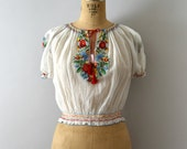 RESERVED LISTING -- Vintage 1940s Blouse - 30s 40s Embroidered Floral Hungarian Peasant Blouse