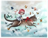 The Kitty Rider - Limited Edition signed 8x10 Pop Surrealism Fine Art Print by Mab Graves