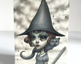 Witch Girl - signed 4 x 5.75 Mini Art Print by Mab Graves - unframed