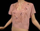 Vintage 40s Blouse // 1940s Mauve Pink Crepe Top Butterflies Iridescent Sequins