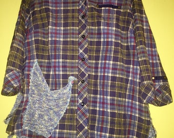 Blue green plaid blouse with sweater back fits M L XL