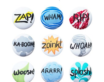 Hand Painted Knob - Children's Custom Hand Painted Comic Book Superhero Drawer Knobs Pulls or Nail Covers for Kids