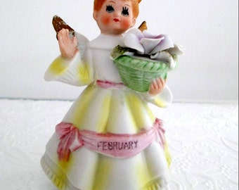 Vintage Arnart February Birthday Angel Figurine Porcelain Bisque