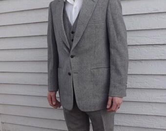 Vintage 70s Mens Suit Botany Herringbone Tweed 1970s 3 piece 42