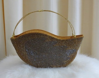 Vintage 70s 80s Glass Beaded Silver and GoldLeaf Pattern Unique Shape Evening Purse Bag