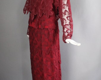 1970s GIORGIO SANT'ANGELO ruby red draped lace 3 pc Studio 54 disco era outfit skirt tank shell blouse vintage 70s