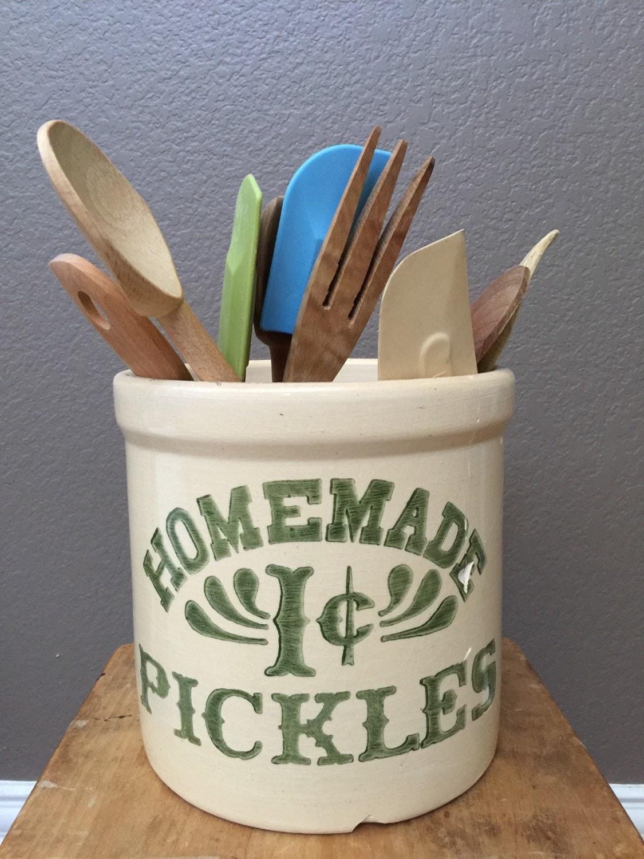 Antique Vintage Homemade 1c Pickles Crock Pottery By Clopedi
