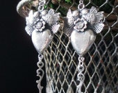 EARRINGS - rhinestones hearts birds watch hands flowers silver plated valentine love token dangle drop, the french circus by robyn parrish