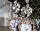 EARRINGS - vintage rhinestnones heart lockets virgin mary portrait holy prayer card images valentine, the french circus by robyn parrish