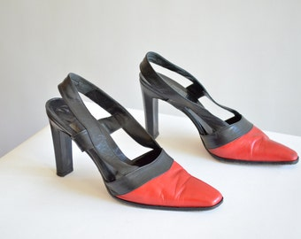 Vintage 1980s BACC two-tone leather heels / 8