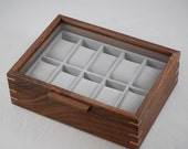 Kerrie Special Order Ring Box with glass top -  Walnut