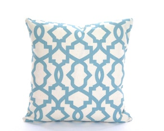 Blue Pillow Covers, Decorative Throw Pillows, Cushion Covers, Village Blue Geometric Sheffield Pillows for Couch Bed, One or More ALL SIZES