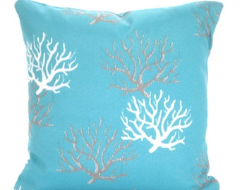 OUTDOOR Aqua Nautical Pillow Covers, Decorative Pillows, Cushion Covers, Aqua Gray White Coral Ocean, Beach Decor, One or More ALL SIZES