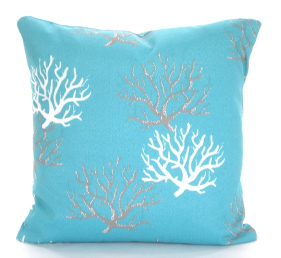 Nautical Decorative Pillow Covers : OUTDOOR Aqua Nautical Pillow Covers Decorative Pillows