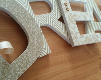 Wooden Wall Letters in Neutral Colors