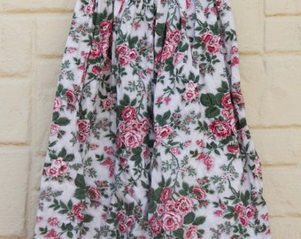 Vintage 90s Rose Floral Print Full Midi Skirt/ Retro/ 50s Style/Shabby chic