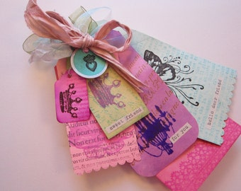 handmade gift tag bundle - for you, sweet friend, pink aqua green and purple - crown, heart, chandelier, flower - gift tags