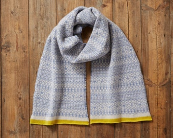 Knitted Fair Isle scarf, long scarf, fringed scarf, blue and white scarf, Fair Isle Scarf, blue yellow scarf, women's, cozy, knitted scarf,