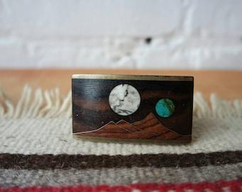 Sky West Brass & Wood Two Moons Belt Buckle