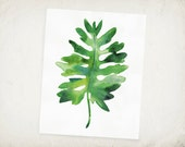 Tropical Leaf - Saddle Leaf Philodendron - Watercolor Leaf Archival Print
