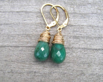 Emerald Earrings Wire Wrapped in 14 K Gold Fill,  Green Stone Dangle Earrings,  May Birthstone, Emerald Jewelry