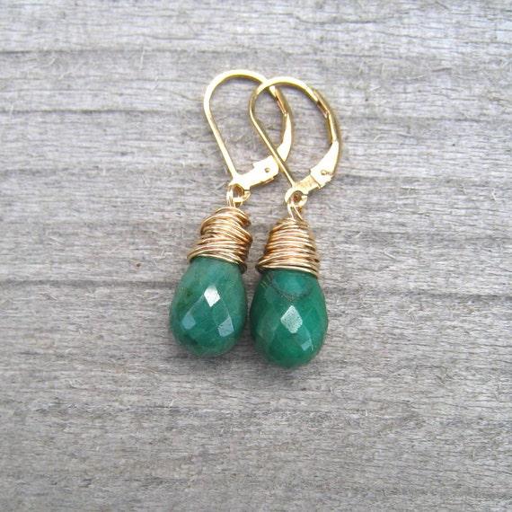 Brazilian Emerald Earrings Wire Wrapped in 14K Gold Fill