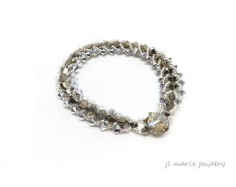 silver & gold swarovski bracelet . crystal glamour . light gold . silver . holiday jewelry . special occasion