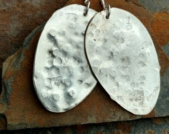 Antique Hammered Spoon Sterling Silver Earrings, Silverware Earrings, Antique Spoon Sterling Earrings