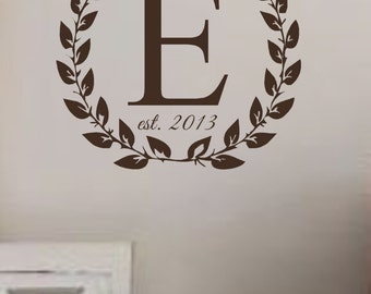Vinyl Wall Decal-Laurel Wreath with Monogram and Est. Date- Wreath- Wedding Gift- Initial- Monogram- Family Name