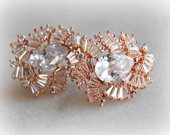 Rose Gold Crystal Earrings, Crystal Studs, Cubic Zirconia Earrings, Bridal Jewelry, Wedding Jewelry, Bridesmaid Earrings - STELLINA