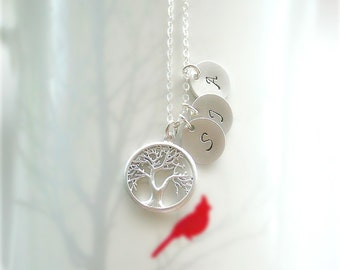 Mothers Necklace, Family Tree Necklace, Tree Life Necklace, Mothers Jewelry, Grandmother Gift, Mother Daughter, Initial, Sterling Silver