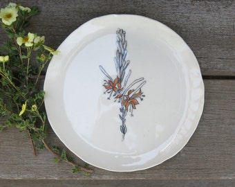Ceramic Woodland Fire Weed Botanical Hand Drawn Fine Art Plate One of a Kind Gift Home Decor, Handmade Artisan Pottery by Licia Lucas Pfadt