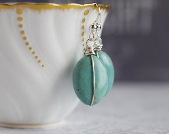 Wire Wrapped Turquoise Earrings Stone Turquoise Dangles Sterling Silver Gemstone Turquoise Drop Earrings Bohemian Earrings Green Earrings