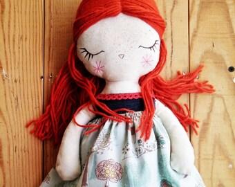 Redhead, closed eyes -handmade fabric doll- cloth doll- OOAK