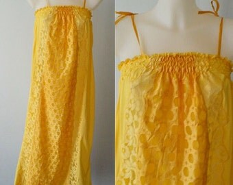 Vintage Nightgown, Vintage Nightgowns, Yellow Nightgown, 1970s Nightgown, Nightgown, Vintage Lingerie, Summer Nightgown
