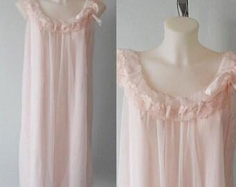 Vintage Nightgown, Vintage Nightgowns, 1960s Nightgown, Kayser, 1960s Kayser, Luxite, 1960 Luxite, Wedding, Pink Chiffon
