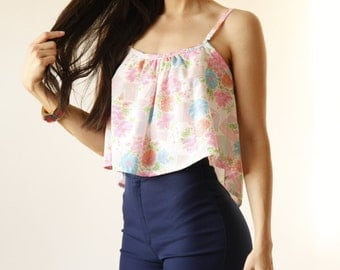 Neon Pink Floral Swing Tank -Gathered Boho Top - Eco Friendly Womens Apparel by Tammy Jo Fashion