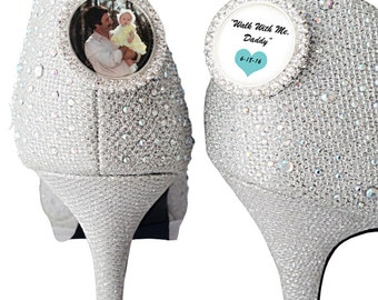 Wedding Shoe Charms Bridal Shoe clips, Wedding Memorial Charms, Wedding Shoe Clips Walk With Me Daddy,Bridal Keepsake Engraved Women's Shoes