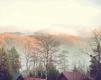 mountain landscape photograph, Smoky Mountains photo, Appalachian Mountains prints, nature wall art, nature landscape art, fog photography