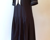 Vintage Laura Ashley Sailor Dress / Drop Waist Gatsby Style Navy Blue Cotton Nautical / USA size 10