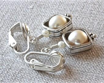 Pearl Clip On Earrings, Sterling Silver Earrings, White Pearl Earrings, Pearl Drop Earrings, Dangle Earrings, Real Pearl Earrings for Women