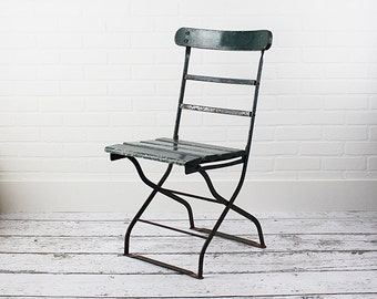 Vintage French Bistro Chair - Cafe Chair - Garden Chair - c.1930s - Old Green Paint