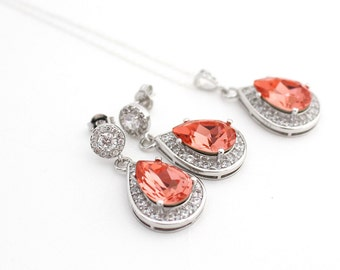 Coral Earrings and Necklace Set Coral Wedding Jewelry Swarovski Teardrop Crystal  Sterling Silver Wedding Jewelry Coral Crystal Jewelry Set