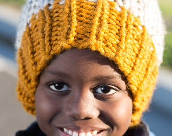 Butterscotch Yellow and Natural Color Chunky Hand Knit Beanie Hat with Pompom