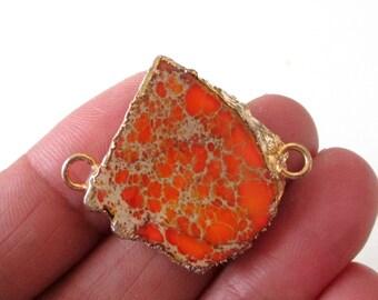 Orange Jasper Connector - Jasper Druzy Slab Stone Pendant - Gold Edge 2 loops - Double Bail - Focal Pendant Necklace - Diy Jewelry Making