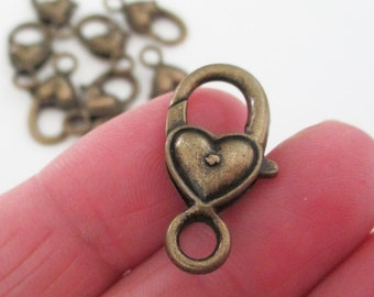 Brass Lobster Clasp - Heart Shaped Lock Clasp - Extra Large - Bronze Metal Lobster Clasp - 27mm x 12mm - Diy Craft Jewelry Findings - 8 Pcs